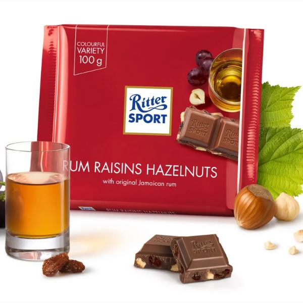Kalorier i Ritter Sport Rum Raisins Hazelnuts